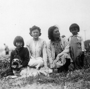 Ruth, June, Mary, and Jean Shiraki at the Clement Street nursery, 1941.