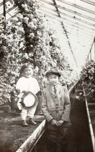 Warren and Henry Hayashi at the Hayashi Nursery in Oakland, 1920s.